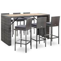 vidaXL 7 Piece Outdoor Bar Set with Cushions Poly Rattan Grey