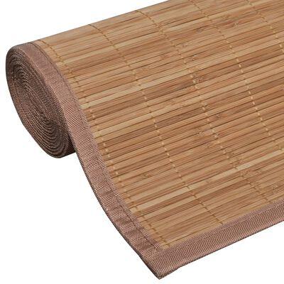 Rectangular Brown Bamboo Rug 80 x 300 cm