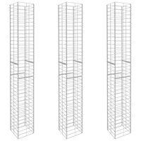 vidaXL Gabion Baskets 3 pcs Galvanised Steel 25x25x197 cm