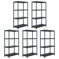 vidaXL Storage Shelf Racks 5 pcs Black 60x30x138 cm Plastic