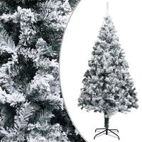 vidaXL Artificial Christmas Tree with LEDs&Flocked Snow Green 400cm PVC