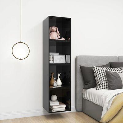 vidaXL Wall Cabinet High Gloss Black 37x37x37 cm Chipboard