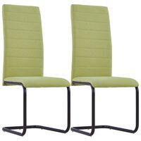vidaXL Cantilever Dining Chairs 2 pcs Green Fabric