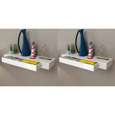 vidaXL Floating Wall Shelves with Drawers 2 pcs White 80 cm