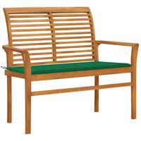 vidaXL Garden Bench with Green Cushion 112 cm Solid Teak Wood