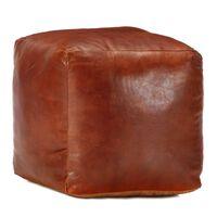 vidaXL Pouffe Tan 40x40x40 cm Genuine Goat Leather