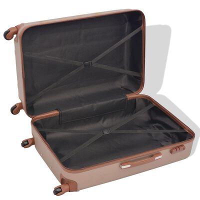 vidaXL Four Piece Hardcase Trolley Set Champagne