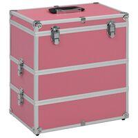 vidaXL Make-up Case 37x24x40 cm Pink Aluminium