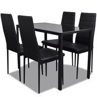 vidaXL Five Piece Dining Table Set Black