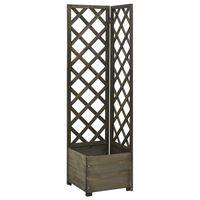 vidaXL Corner Trellis Planter Grey 40x40x150 cm Solid Firwood
