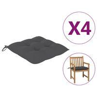 vidaXL Chair Cushions 4 pcs Anthracite 50x50x7 cm Fabric