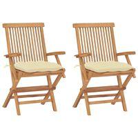 vidaXL Garden Chairs with Cream White Cushions 2 pcs Solid Teak Wood
