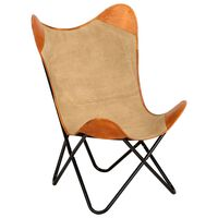 vidaXL Butterfly Chair Brown Real Leather and Canvas
