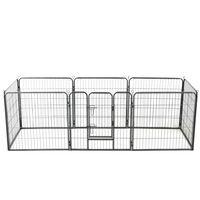 vidaXL Dog Playpen 16 Panels Steel 80x80 cm Black