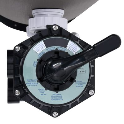 vidaXL Pool Sand Filter with Side Mount 6-Way Valve Grey
