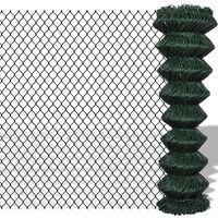 140346 vidaXL Chain Link Fence Steel 1,5x15 m Green