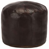 vidaXL Pouffe Dark Brown 40x35 cm Genuine Goat Leather