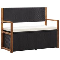 vidaXL Storage Bench 110 cm Poly Rattan and Solid Acacia Wood Black