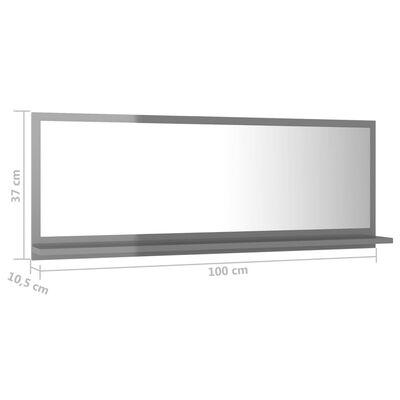 vidaXL Bathroom Mirror High Gloss Grey 100cm Chipboard
