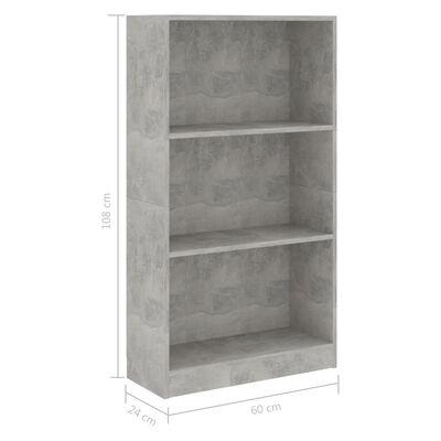 vidaXL 3-Tier Book Cabinet Concrete Grey 60x24x108 cm Chipboard