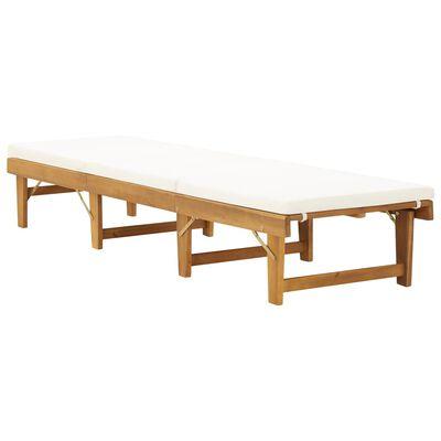 vidaXL Folding Sun Lounger with Cushion Solid Acacia Wood