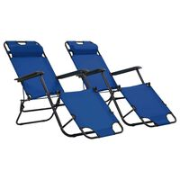 vidaXL Folding Sun Loungers 2 pcs with Footrests Steel Blue