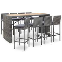 vidaXL 9 Piece Outdoor Bar Set Poly Rattan and Acacia Wood Grey
