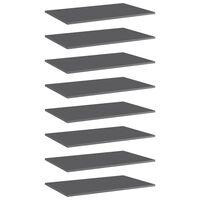 vidaXL Bookshelf Boards 8 pcs High Gloss Grey 80x50x1.5 cm Chipboard
