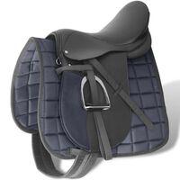 "vidaXL Horse Riding Saddle Set 16"" Real Leather Black 14 cm 5-in-1"