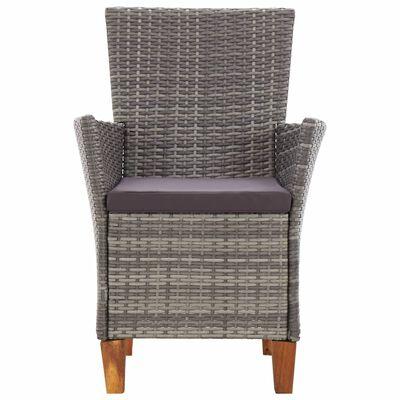 vidaXL Garden Chairs 2 pcs with Cushions Poly Rattan Grey