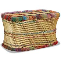vidaXL Coffee Table Bamboo with Chindi Details Multicolour