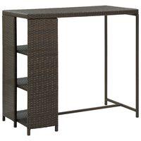 vidaXL Bar Table with Storage Rack Brown 120x60x110 cm Poly Rattan