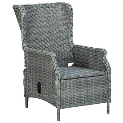 vidaXL Reclining Garden Chair with Footstool Poly Rattan Light Grey