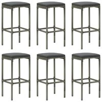 vidaXL Bar Stools with Cushions 6 pcs Grey Poly Rattan