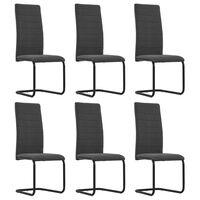 vidaXL Cantilever Dining Chairs 6 pcs Dark Grey Fabric