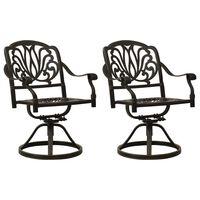 vidaXL Swivel Garden Chairs 2 pcs Cast Aluminium Bronze
