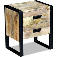 vidaXL Side Table with 2 Drawers Solid Mango Wood 43x33x51 cm