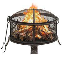 vidaXL Rustic Fire Pit with Poker 67.5 cm XXL Steel