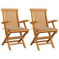 vidaXL Garden Chairs with Beige Cushions 2 pcs Solid Teak Wood