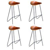 vidaXL Bar Chairs 4 pcs Brown Real Leather