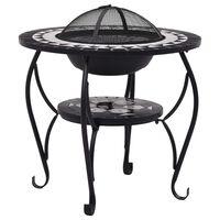 vidaXL Mosaic Fire Pit Table Black and White 68 cm Ceramic