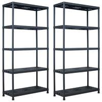 vidaXL Storage Shelf Racks 2 pcs Black 260 kg 90x40x180 cm Plastic