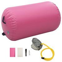 vidaXL Inflatable Gymnastic Roll with Pump 100x60 cm PVC Pink