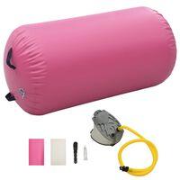 vidaXL Inflatable Gymnastic Roll with Pump 120x90 cm PVC Pink