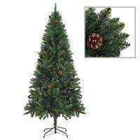 vidaXL Artificial Christmas Tree with Pine Cones Green 180 cm