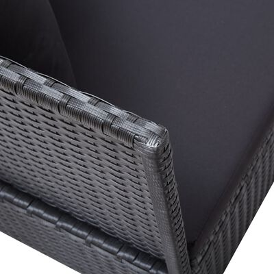 vidaXL Outdoor Sofa with Cushion and Pillow Poly Rattan Black
