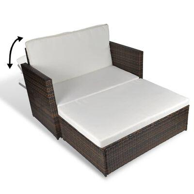 vidaXL Garden Sofa Poly Rattan Brown