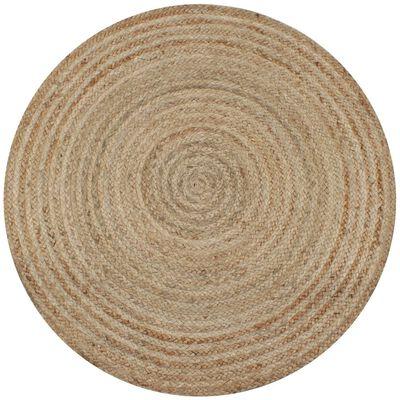 vidaXL Area Rug Braided Jute 120 cm Round