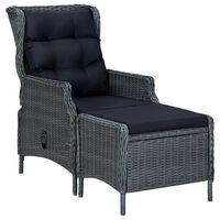 vidaXL Reclining Garden Chair with Footstool Poly Rattan Dark Grey