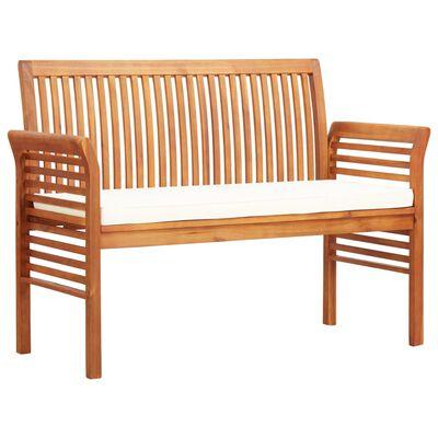 vidaXL 2-Seater Garden Bench with Cushion 120 cm Solid Acacia Wood